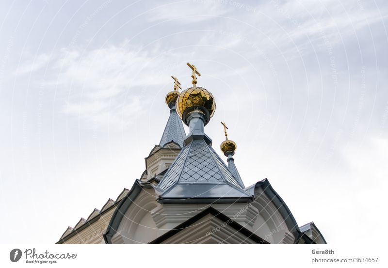 bottom view golden domes of christian church with crosses on blue sky background Ukraine architecture attraction authentic building city classic colored