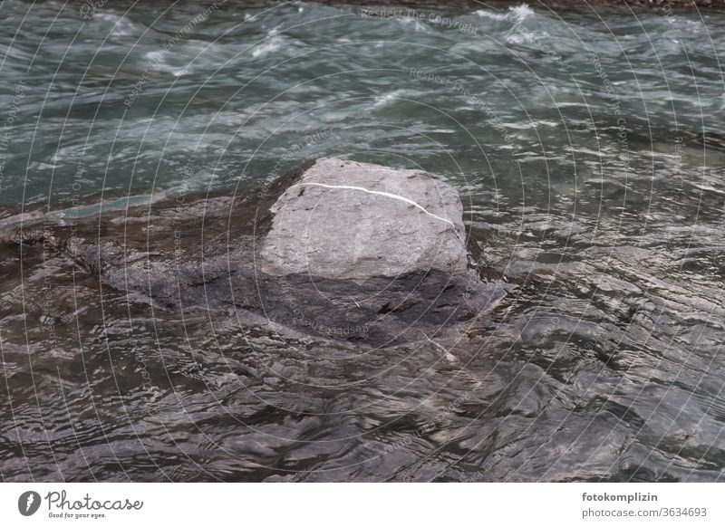 Stone with white line in the river Stone block Dashed line River Line Flow dash Stream Lined landmark Gray Current Rock Water Nature Movement Direction Brook
