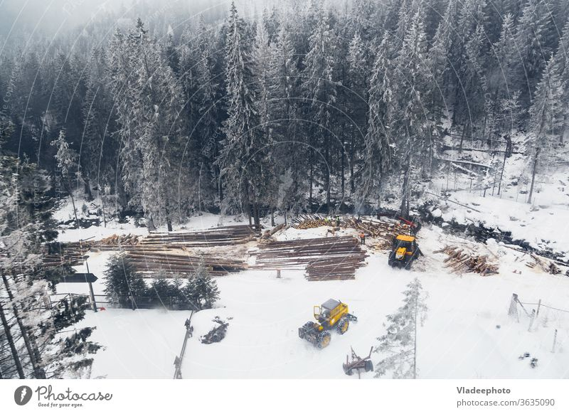 Industrial logging and harvesting with machinery in winter mountain forest. Flying drone view photography. tree timber lumber above air fly wood deforestation