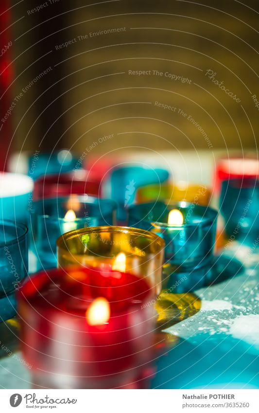 Candles in church Light red blue yellow Church Interior shot Religion and faith Christianity Hope Prayer Belief Colour photo Spirituality Church service God