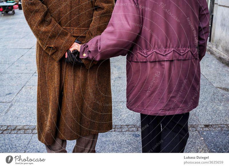 Elderly couple holding hands happy partner trust commitment romantic romance union enjoy aged caress beloved emotion close peaceful retiree