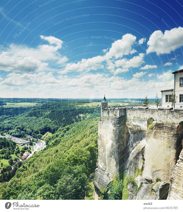 Sandurg Elbsandstone mountains Saxon Switzerland Tourist Attraction Tower Copy Space top Panorama (View) wide outlook green royal stone Multicoloured Freedom