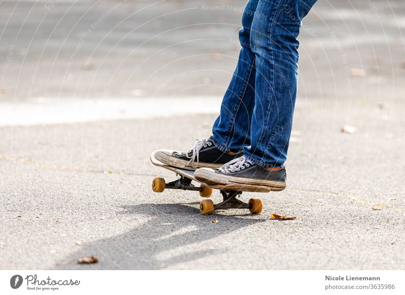 Person rides the skateboard Skateboard Action Energy active skateboarder skater Skateboarding Ice-skating practice Dynamic Sneakers people Outdoors Style