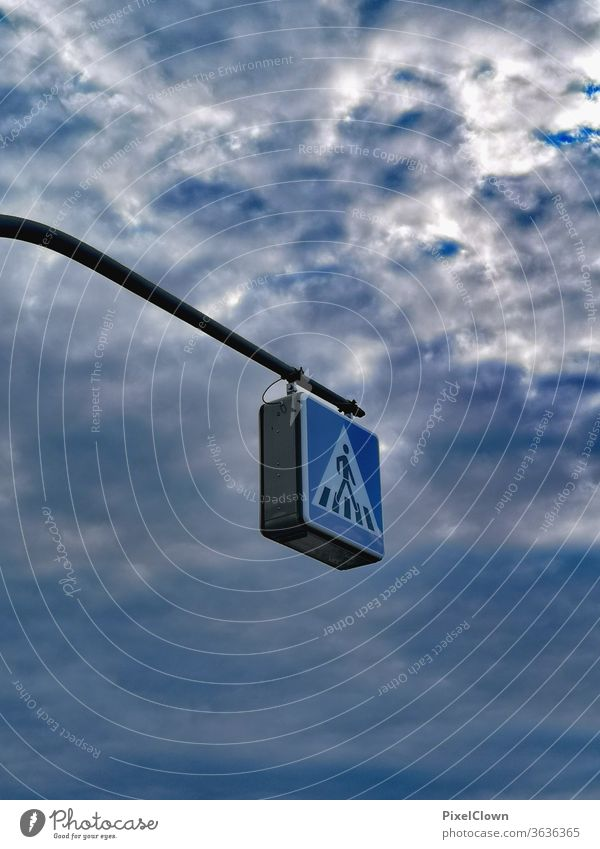 Walk in the sky Road sign Signs and labeling Sky Street sign Warning sign Blue Clouds