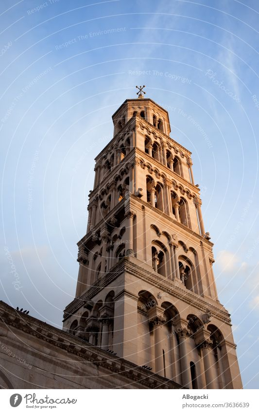 Bell Tower of the Cathedral of Saint Domnius in Split, Croatia cathedral bell tower landmark historic building split europe croatia heritage sunset dalmatia