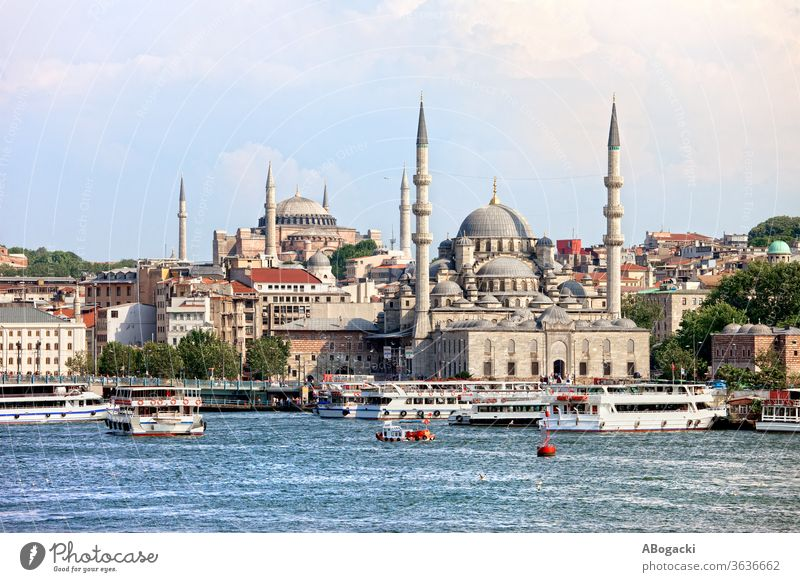City skyline of Istanbul in Turkey istanbul turkey city cityscape mosque buildings water urban golden horn boats travel