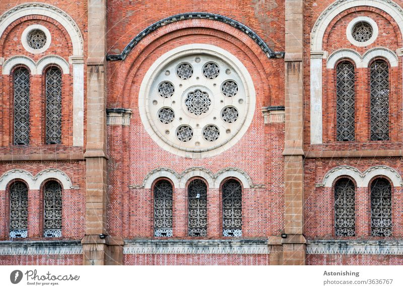 Notre Dame Cathedral, Saigon, Ho Chi Minh City, Vietnam Town built Facade Church Window Manmade structures Architecture Rose window Round shape bows brick White