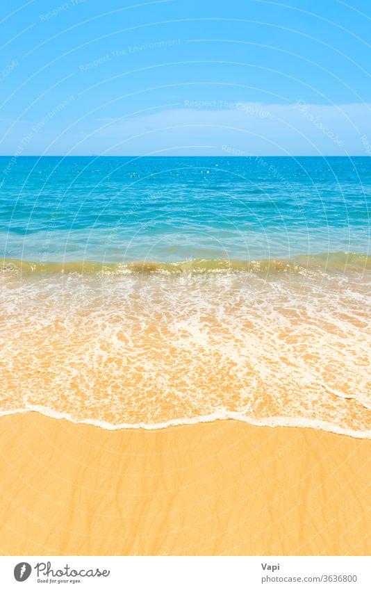 Blue sea water and sand beach blue nature ocean background wave summer tropical surf sun landscape island beautiful seascape sunny day shore coast sunlight