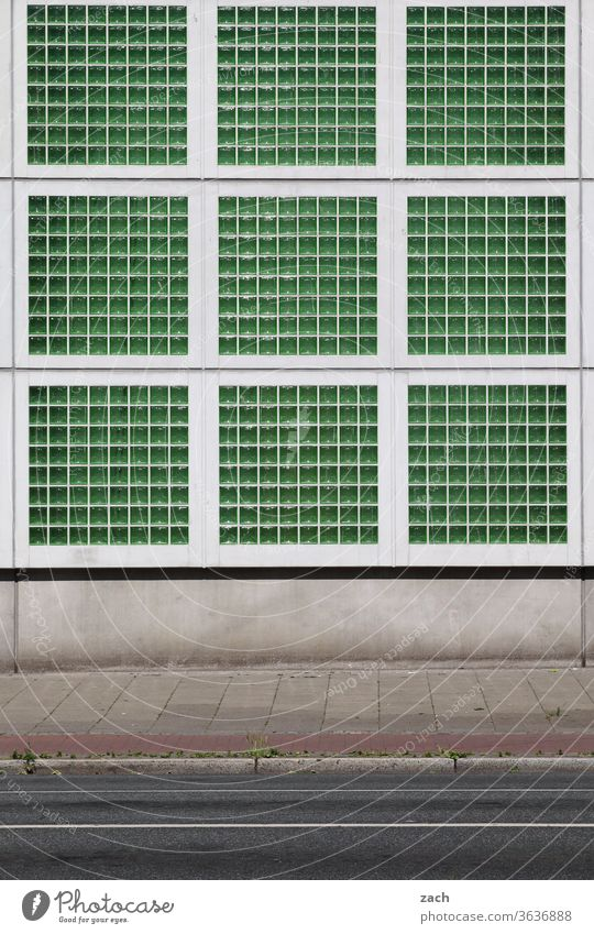 Sudoku Facade Architecture House (Residential Structure) Window built Wall (building) green Bremen Glass block Glas facade Street Lanes & trails Industry