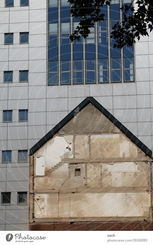 Old and New Wall (building) Facade built Architecture Broken New building Fire wall House (Residential Structure) Window Decline Destruction Redecorate