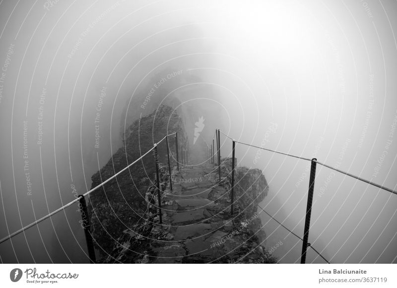 Black and white photo of the way to the mountain peaks Pico Ruivo and Pico do Areeiro in the fog in Madeira, Portugal. A mystical path, way to nowhere Above