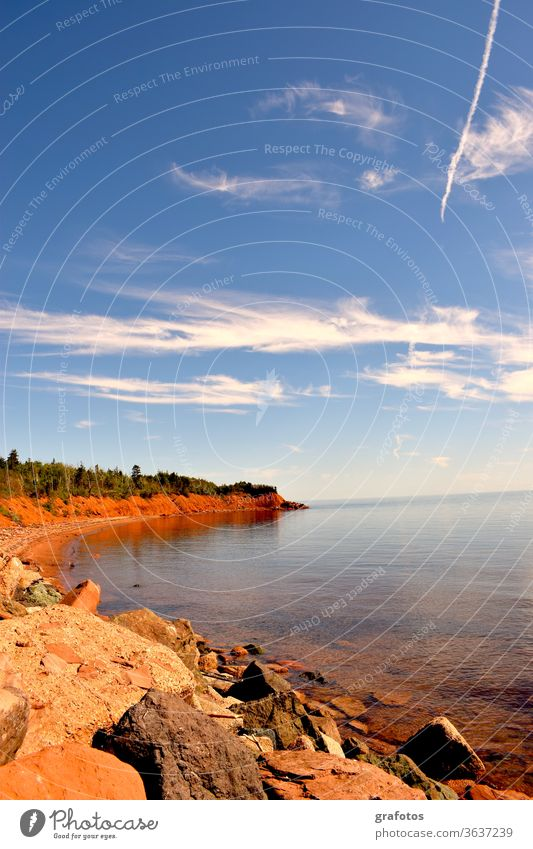 Red Cove Prince Edward Island Canada Iceland P.E.I. Exterior shot Colour photo Nature Landscape Day Environment natural Ocean Bay Blue farsightedness stones