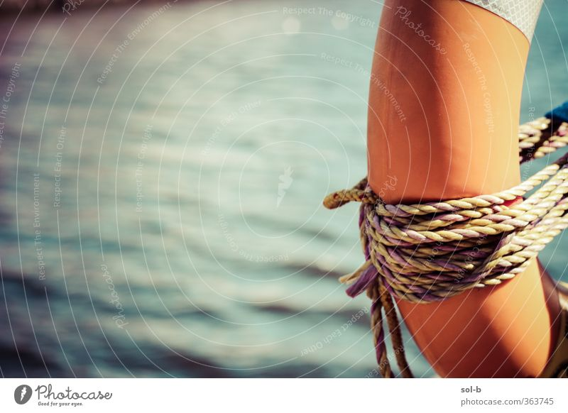seasca dó Vacation & Travel Blue Water Summer Ocean Sports Swimming & Bathing Orange Waves Beautiful weather Trip Rope Adventure Help Safety String