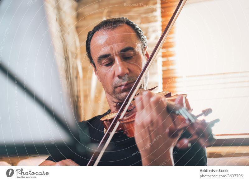 Ethnic male musician playing violin instrument man talent sheet violinist melody ethnic hispanic perform rehearsal sound entertain tune hobby rhythm player