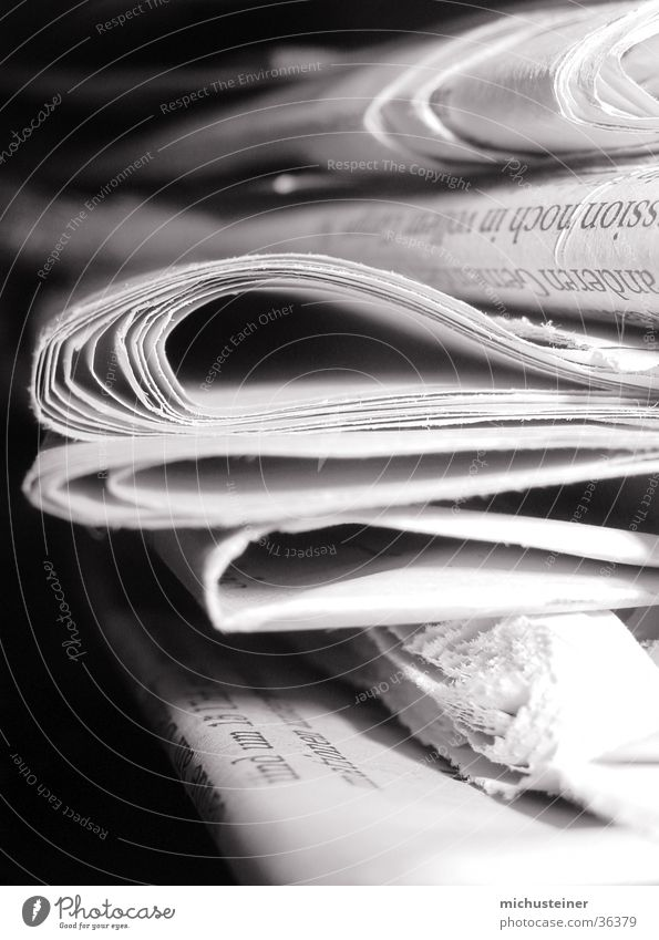 piles of newspapers Newspaper Gray scale value Style Macro (Extreme close-up) Close-up Contrast light/dark Business
