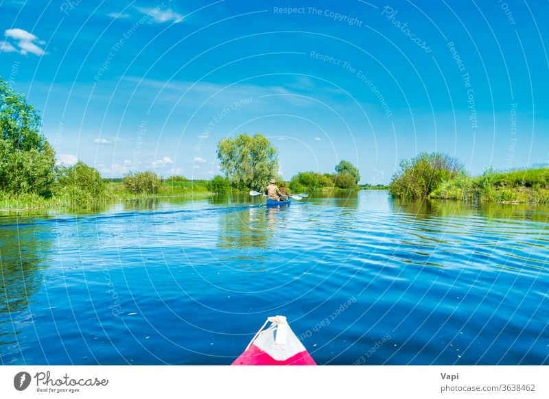 Kayak trip on blue river landscape kayak nature kayaking water canoe boat paddle travel lake summer vacation sport outdoor person recreation recreational