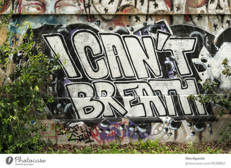 """Graffito on wall - George Floyd: """"I can't breathe"""" Wall (barrier) Racism Breathe Breathlessness Politics and state English leap famous Letters (alphabet)"""