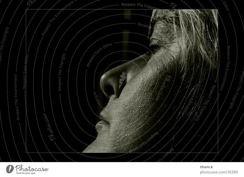 resting Feminine Portrait photograph Woman Silhouette Face Profile Black & white photo