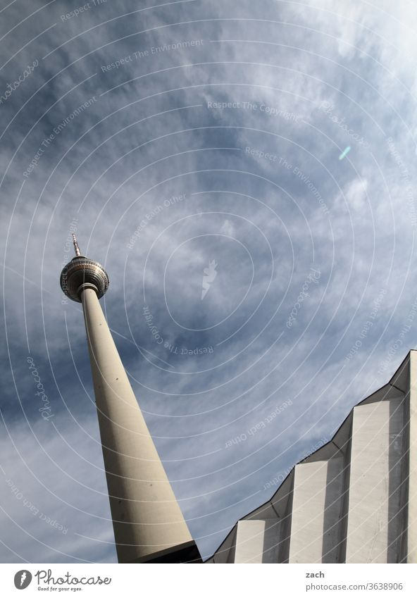ups and downs Blue Sky blue Tall Tourist Attraction Architecture Tower Alexanderplatz Landmark Berlin TV Tower Capital city Television tower Downtown