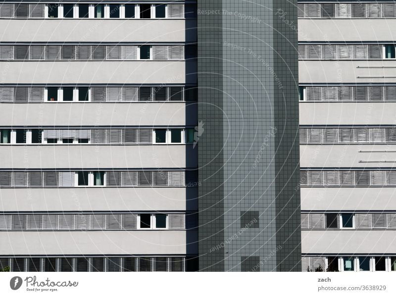 bright grey Office building Loneliness Concrete GDR New building Living or residing Marzahn Marzahn-Hellersdorf synchronisation uniform monotonous variety