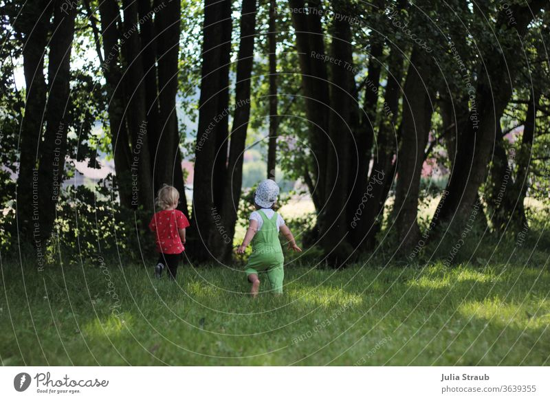 two little children running on a meadow to a stream trees Meadow clearing Running Catch play catch Overalls Cap Children's game Infancy Summer Green Free