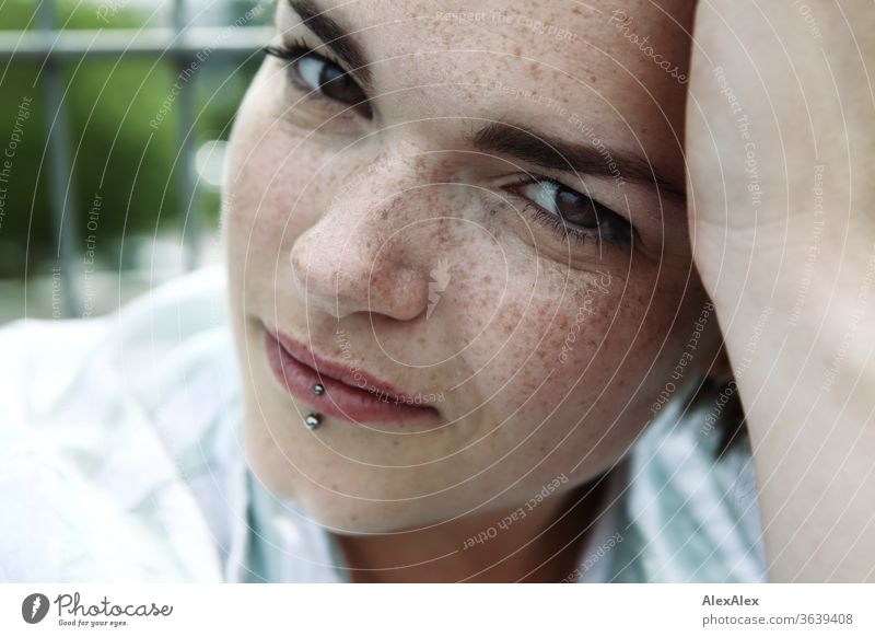 Portrait of a young, freckled woman Young woman Top windy hair brunette already Intensive Youth (Young adults) 18-25 years Looking into the camera feminine