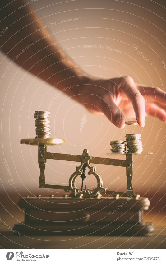 Balance | Equilibrium - Justice - divide / share concept Dealers deal Neutral Background Copy Space top disequilibrium uneven difference Deep depth of field