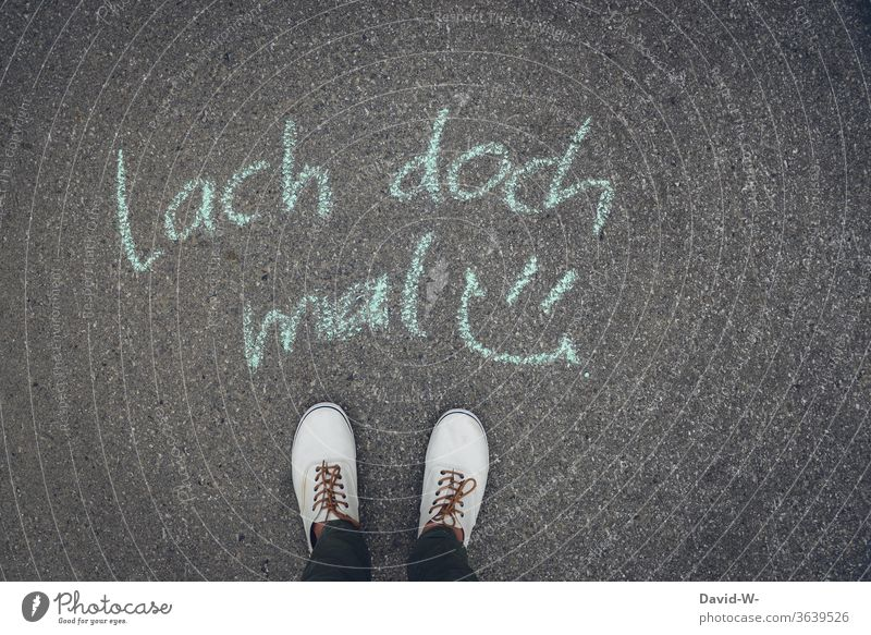 laugh / written on the floor with chalk have a laugh Smiley concept context smile Laughter Positive cheer cheer up Colour photo Joy Happiness Optimism Emotions