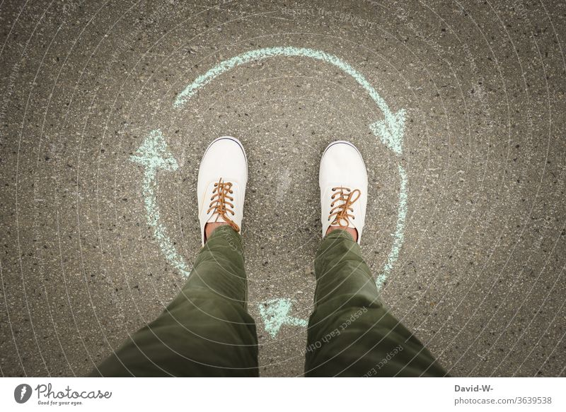 Man stands in the middle of a circle - cycle / life course / the centre / or the green dot ? Stand Middle Center point green spot Environment Circle circulation