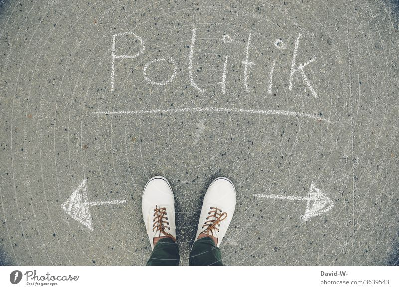 Politics - which direction do you take Man foot policy Direction Trend-setting Left Right case for adjustment politically Political movements Politics and state