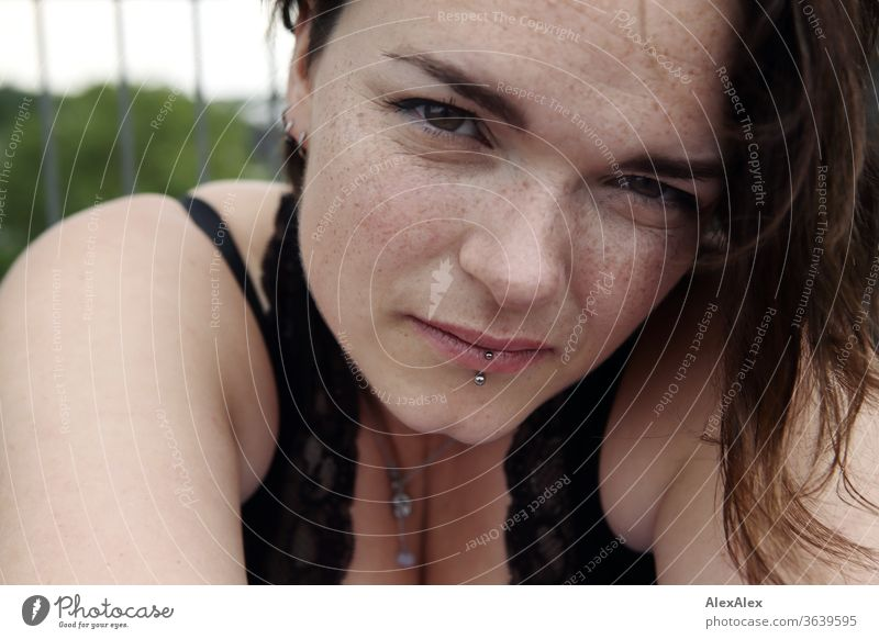 Portrait of a young, freckled woman Young woman Top windy hair brunette already Intensive Youth (Young adults) 18-25 years décolleté Looking into the camera