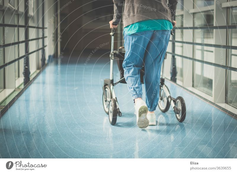A woman with a walking disability walks along a hospital corridor with a walker walking impediment Rollator handicap Sick Old Hospital Corridor Health care