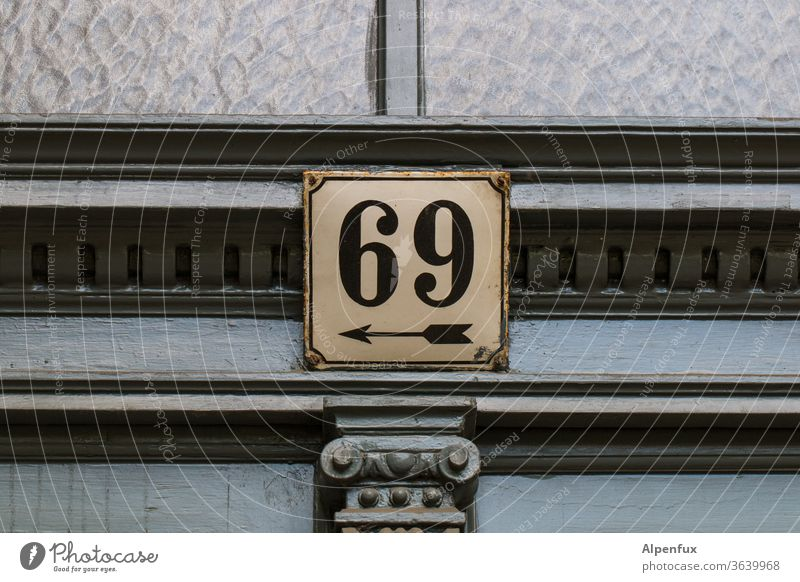 unique links 69 Deserted Colour photo Entrance Front door Signs and labeling sign Signage House number house number plate Characters Exterior shot built figures