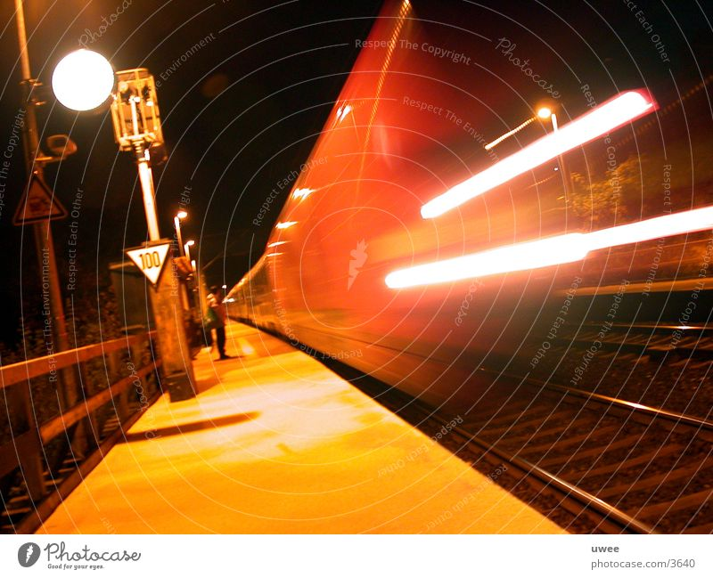 wait in vain ... Platform Night Railroad Railroad tracks Tracer path Lamp Motion blur Time Come Depart Driving Morning Transport five o'clock Wait Movement