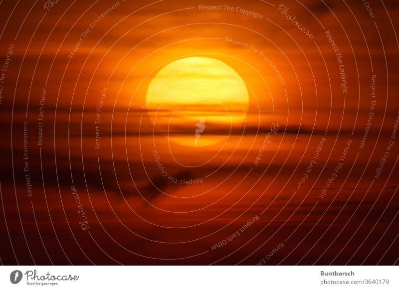 Big sun behind veils of clouds in the sunset Sun Sunset Clouds Sky Evening Dusk Nature Yellow Orange Sunlight Exterior shot already Summer Light Twilight