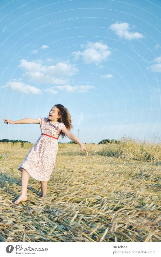 happy girl on a straw chopper fun Laughter Gesture Climate Beautiful weather Straw Hair and hairstyles Nature Sunlight Warmth Joy Happiness Retro Landscape