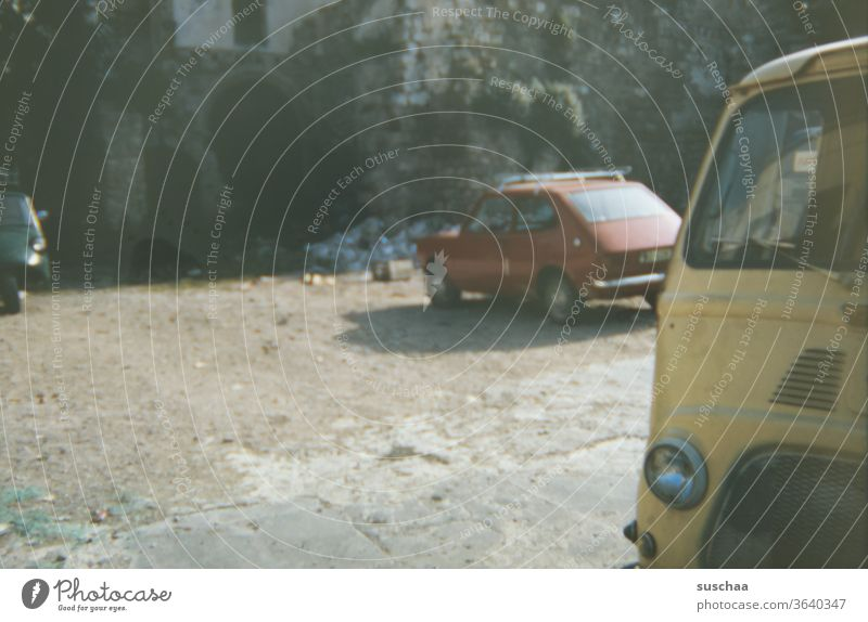 old slide recording of old cars Slide recording Old Retro Retro Colours Nostalgia Past Transience Former Analog Generations Memory 70s Europe Spain Italy Greece