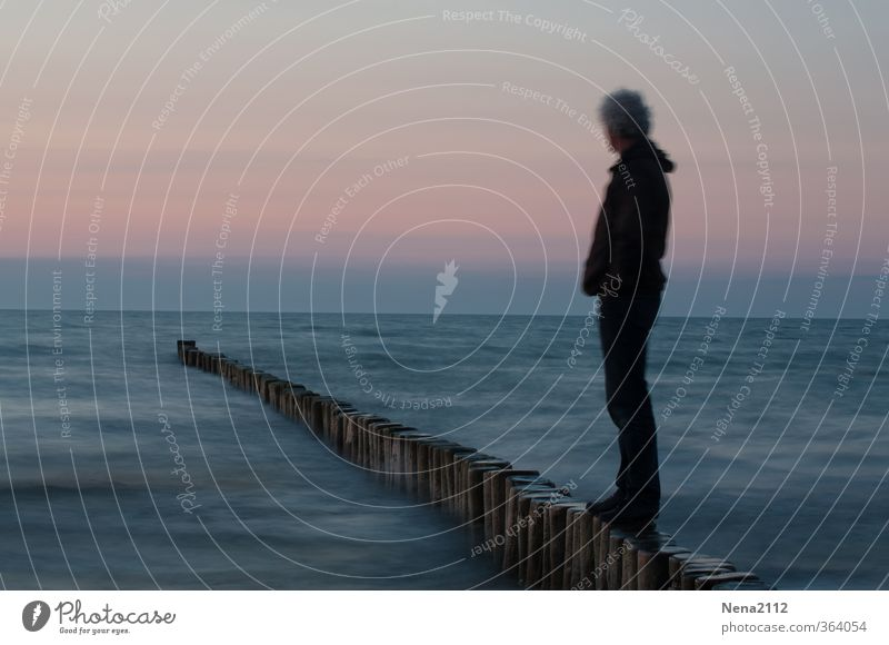 Human being Nature Man Water Ocean Landscape Beach Far-off places Adults Environment Coast Think Horizon Air Body Masculine