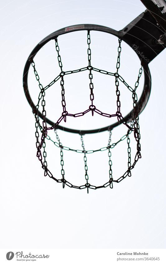 Basketball net outdoor basketball net Sports Playing Exterior shot Playground Park Street Neutral Background Silhouette Sky Sports equipment Ball sports