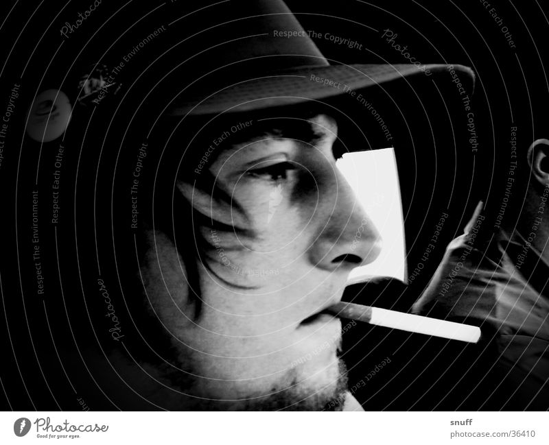 himself Baseball cap Man black white Contrast Car Smoking snuff