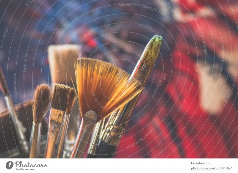 abstract painting Paintbrush Colour Art Multicoloured Creativity Leisure and hobbies Acrylic Abstract variegated Colour photo Close-up Shallow depth of field