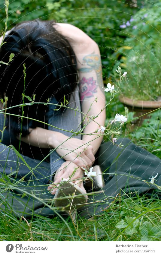 Human being Woman Nature Blue Plant Green White Black Adults Environment Yellow Meadow Grass Feminine Gray Garden