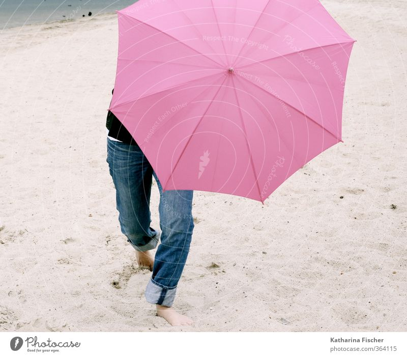 Happy beginning of summer ..... Summer 1 Human being Elements Earth Sand Weather Bad weather Wind Blue Brown Gray Pink Black Umbrella Sunshade Legs Jeans Beach
