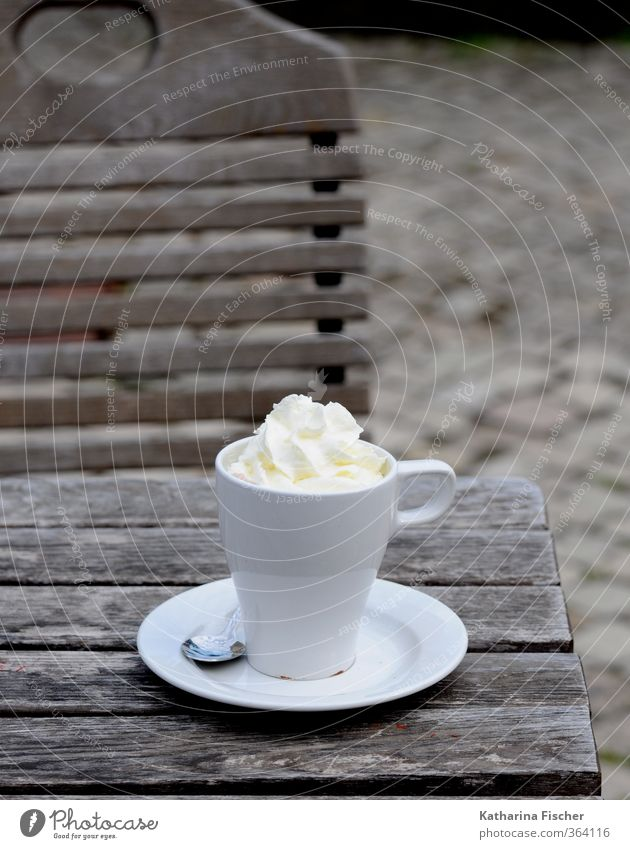 White Wood Brown Food Beverage To enjoy Break Coffee Breakfast Cup Plate Silver Spoon To have a coffee Hot drink