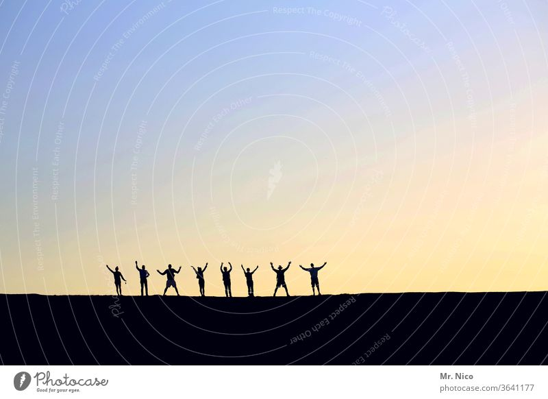 Jubilation Silhouette Shadow 8 Eight Together Family & Relations Side by side Posture Light Sky Sunset Twilight Sunrise luck Harmonious Related Teamwork