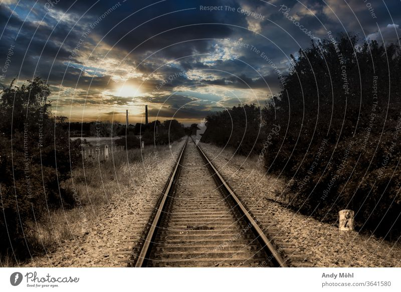 Lonely railway line in the middle of nowhere Landscape railway tracks Clouds conceit out Black & white photo Sunset Sunlight Mystic tree Stone In transit