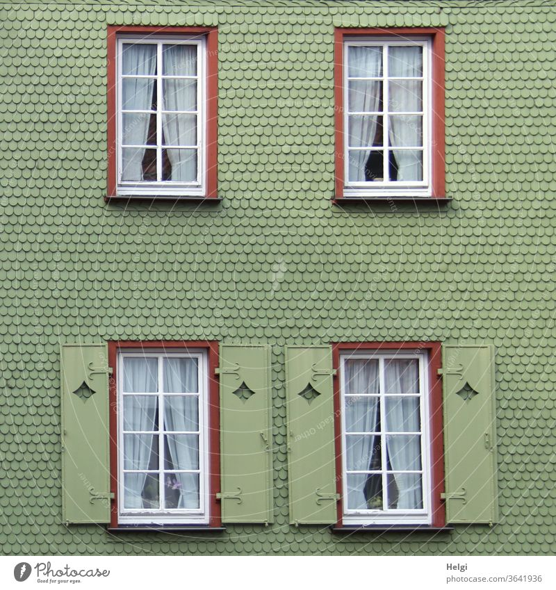 green shingle façade with windows and shutters | symmetry Facade House (Residential Structure) built shingles Window Deserted Exterior shot Architecture