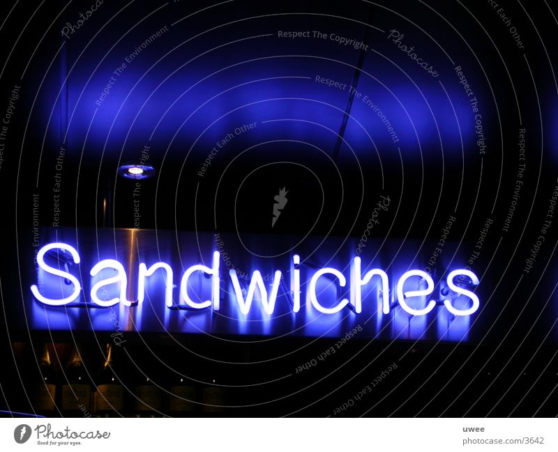 Blue Nutrition Lighting Characters Bar Neon light Display Text Neon sign Sandwich