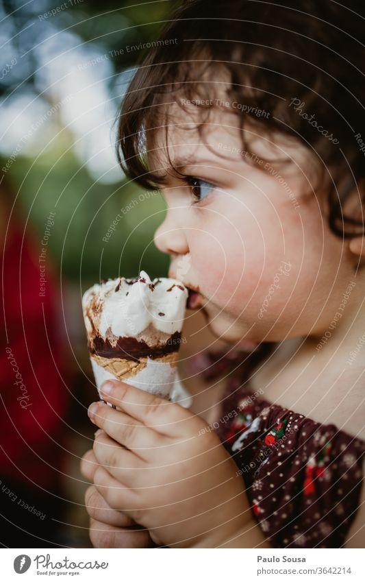 Child eating ice cream Ice cream icecream Summer Summer vacation gelato ice-cream food dairy cold dessert summer sweet Food italian homemade Dessert vanilla