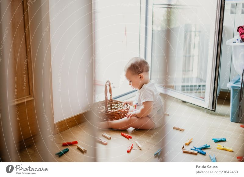 Child playing at home Baby babyhood Children's game Lifestyle Innocent innocence Interior shot Delightful Playing Sweet Joy Small Happiness Infancy Cute sensory